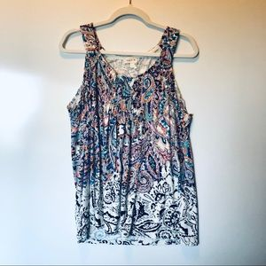 Anthropologie Meadow Rue Floral Tank L
